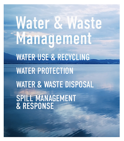 Water & Waste Management - Water Use & recycling - Water Stress - Water protection - water & Waste disposal - Spill Management & Response